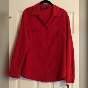 Rafaella Red Button-Down Blouse